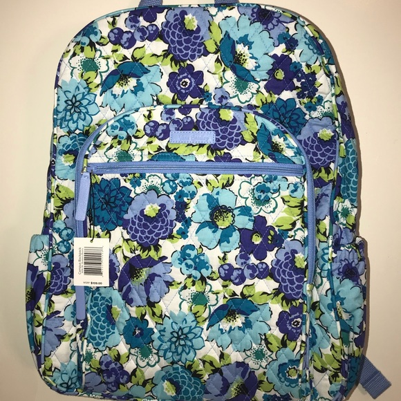 8214e023db Vera Bradley Blueberry Blooms Campus Backpack